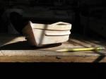 "A small, (17""loa) Greek style fishing boat."